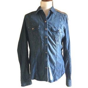 *NEW ITEM* WHBM Denim /Blue Jean Button Down Shirt